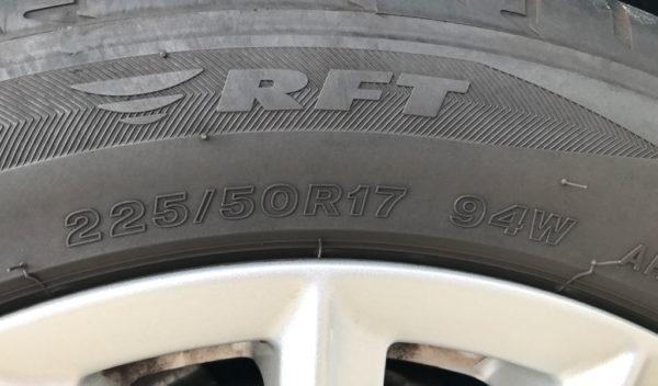 タイヤに表記されたサイズ